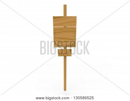 simple road sign. 3d illustration on white background. with shadow. icon for game or for site. simple to use. wooden green