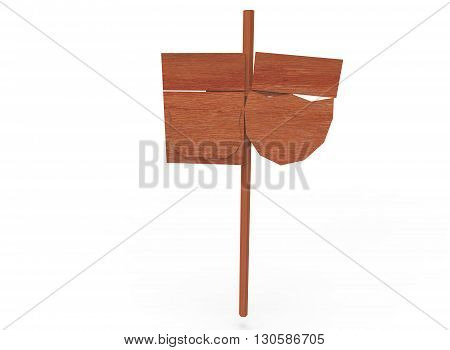 simple road sign. 3d illustration on white background. with shadow. icon for game or for site. simple to use. wooden