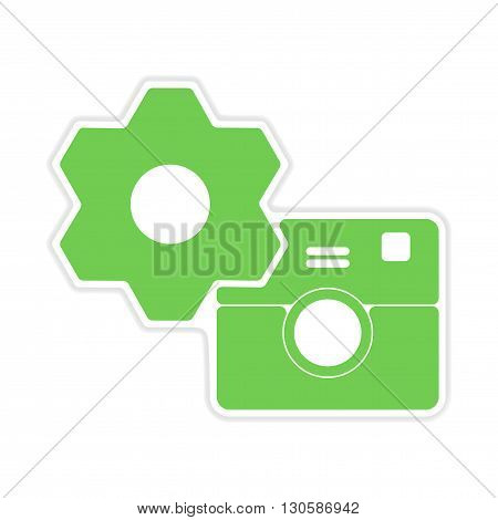 paper sticker on white  background camera settings