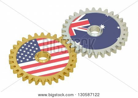 Australia and United States relations concept flags on a gears. 3D rendering isolated on white background