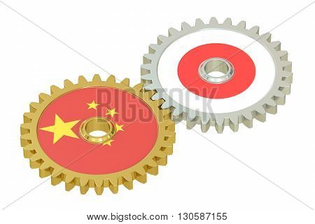 Chinese and Japanese flags on a gears 3D rendering isolated on white background