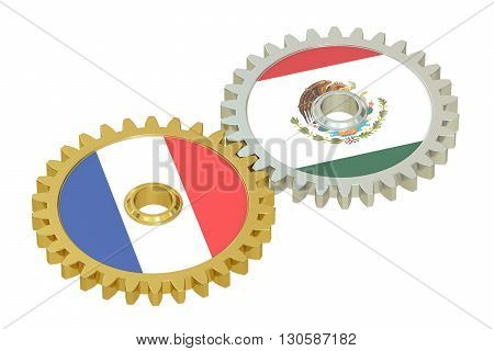 France and Mexico flags on a gears 3D rendering isolated on white background