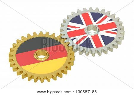 Germany and UK flags on a gears 3D rendering