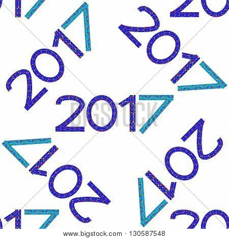Seamless pattern with numbers of year 2017 on white background