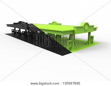 3d illustration of gas station. simple to use. on white background isolated with shadow. icon for game or web. eco building. expensive purchase. green black colors.
