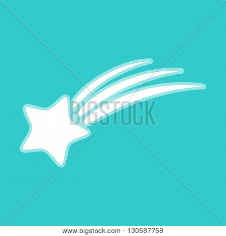 Shooting star icon. White icon with whitish background on torquoise flat color.