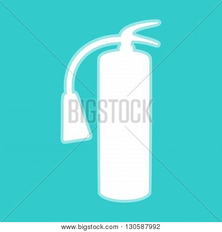 Fire extinguisher icon. White icon with whitish background on torquoise flat color.