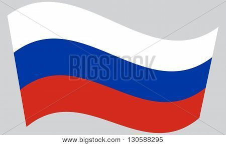 Flag of Russia waving on gray background