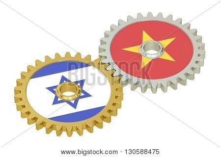 Israel and Vietnam flags on a gears 3D rendering isolated on white background