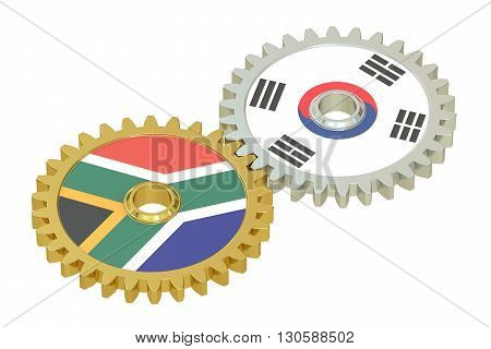 South Africa and South Korea flags on a gears 3D rendering isolated on white background