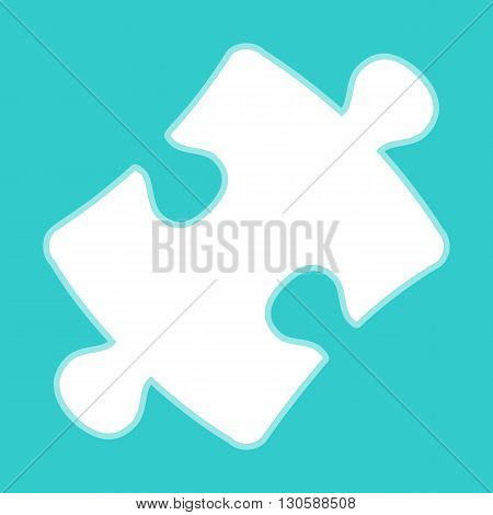 Puzzle piece flat icon. White icon with whitish background on torquoise flat color.