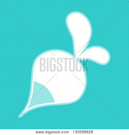 Radish simple icon. White icon with whitish background on torquoise flat color.