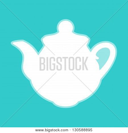 Tea maker Kitchen Icon. White icon with whitish background on torquoise flat color.