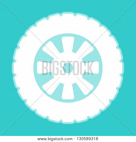 Road tire icon. White icon with whitish background on torquoise flat color.