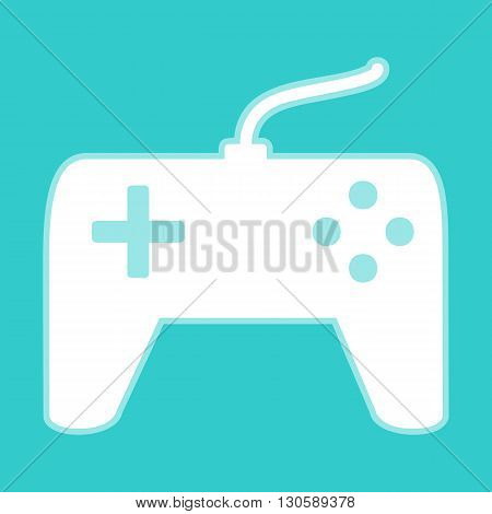 Joystick simple icon. White icon with whitish background on torquoise flat color.