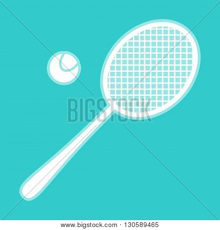 Tennis racquet icon. White icon with whitish background on torquoise flat color.