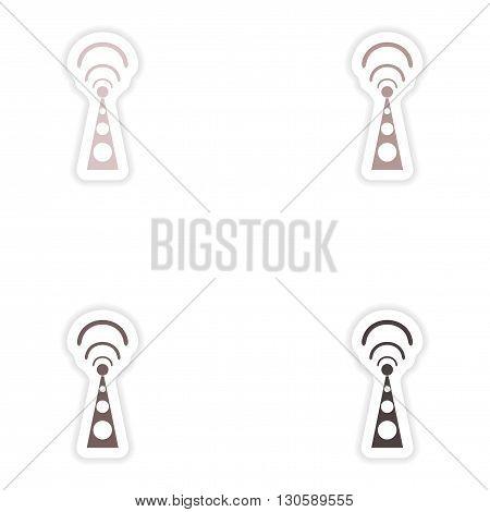 Set paper sticker on white background  Wi fi tower