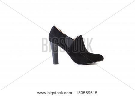 Suede Women's Boots On A White Background, Black Shoes, Autumn And Winter, Side View