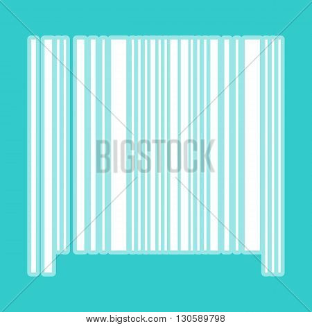 Bar code icon. White icon with whitish background on torquoise flat color.