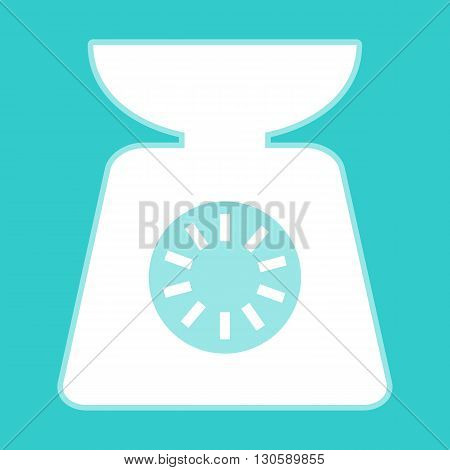 Kitchen scales icon. White icon with whitish background on torquoise flat color.