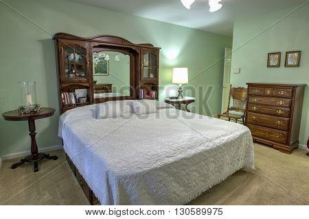simple bedroom with queen bed