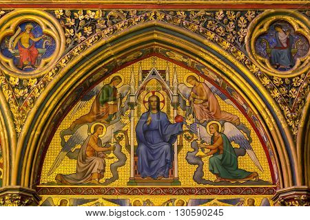 Paris, France - May 13: This is fragment preserved interior decoration of the royal chapel of the XIII century Saint Chapel on island Cite May 13, 2013 in Paris, France.