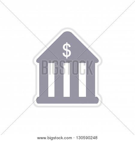 stylish paper sticker on white  background bank