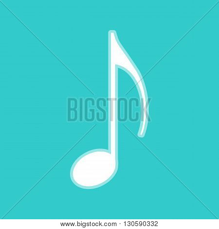 Music note sign. White icon with whitish background on torquoise flat color.