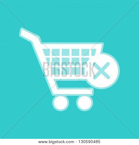 Shopping Cart and X Mark Icon, delete sign. White icon with whitish background on torquoise flat color.