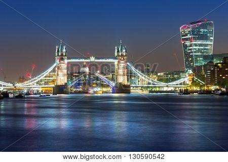 Tower Bridge in London at night, UK