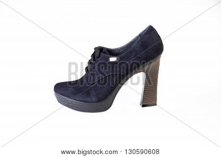Blue Suede Shoes On A White Background Autumn And Winter Shoes