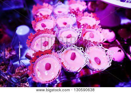Elegance Wedding Reception Table With Food And Decor. Panakota With Hazelnuts
