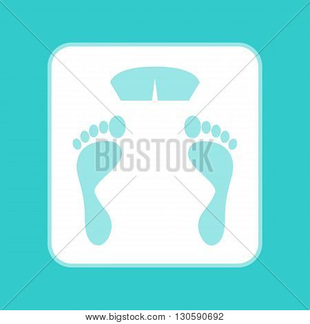 Bathroom scale sign. White icon with whitish background on torquoise flat color.
