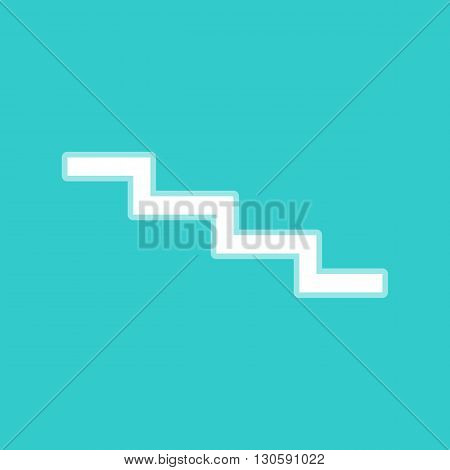 Stair down sign. White icon with whitish background on torquoise flat color.