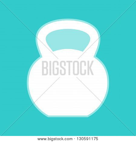 Fitness Dumbbell sign. White icon with whitish background on torquoise flat color.