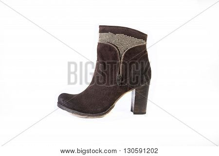 Women's Shoes On A White Background, Brown Boots With Rhinestones