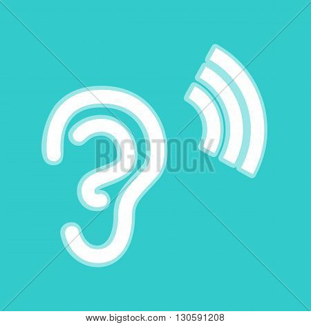 Human ear sign. White icon with whitish background on torquoise flat color.