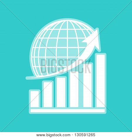 Growing graph with earth. White icon with whitish background on torquoise flat color.