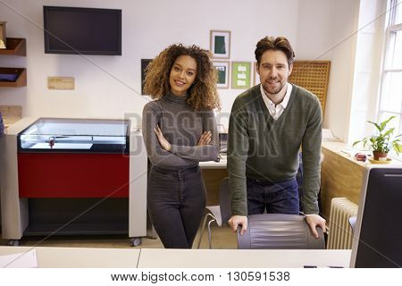 Portrait Of Designers With CAD System For Laser Cutter