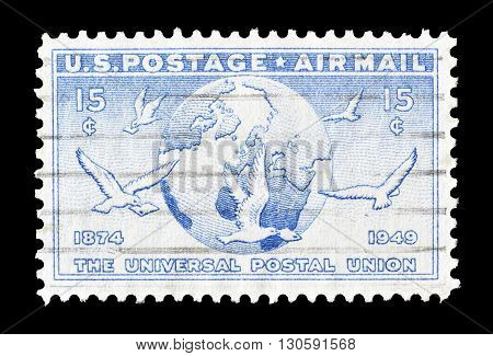 USA - CIRCA 1949 : Cancelled postage stamp printed by USA, that shows Earth and pigeons.
