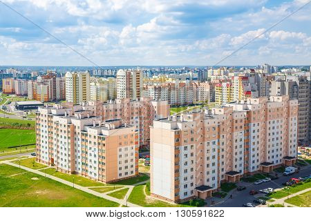 View of the residential district on the outskirts of the city Grodno Belarus