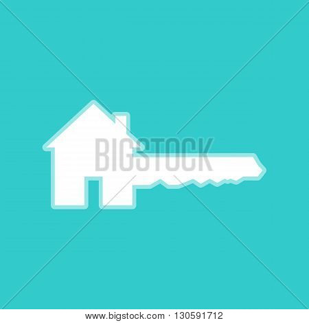 Home Key sign. White icon with whitish background on torquoise flat color.