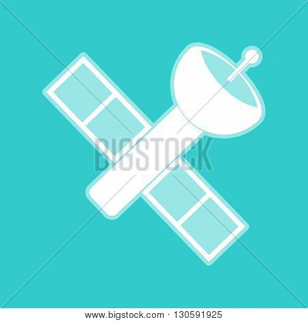 Satellite sign. White icon with whitish background on torquoise flat color.