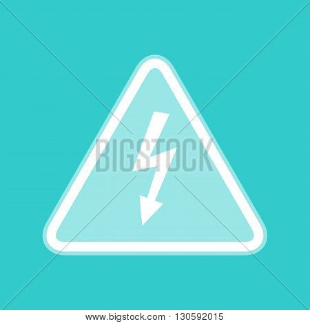 High voltage danger sign. White icon with whitish background on torquoise flat color.