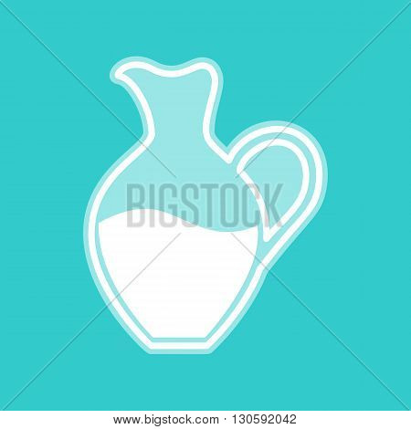 Amphora sign. White icon with whitish background on torquoise flat color.