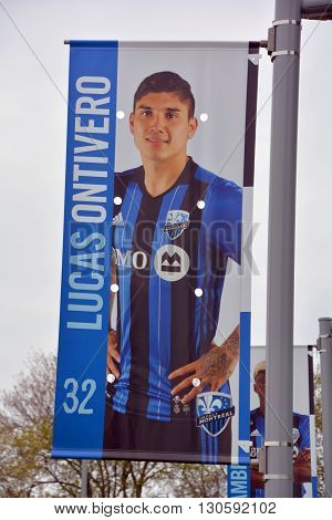 MONTREAL QUEBEC CANADA MAY 15 2016: Lucas Ontivero (born 9 September 1994) is an Argentine professional footballer who plays as a winger for Canadian club Montreal Impact in Major League Soccer