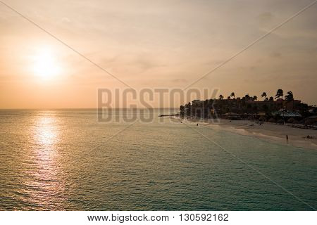 Sunset at Manchebo beach on Aruba island in the Caribbean Sea