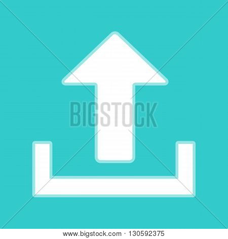 Upload sign. White icon with whitish background on torquoise flat color.