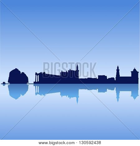 Vector silhouette skyline of Cyprus famouse sites on blue sky