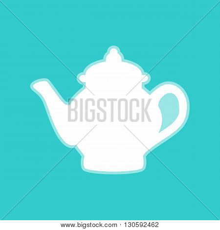 Tea maker sign. White icon with whitish background on torquoise flat color.